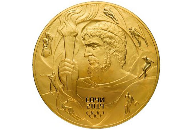 """Золотая монета """"Прометей"""" (из серии """"XXII Олимпийские зимние игры и XI Паралимпийские игры 2014 года в Сочи"""") номиналом 10 тыс. руб. Изготовлена из золота 999-й пробы. Вес - 1003,40 г"""