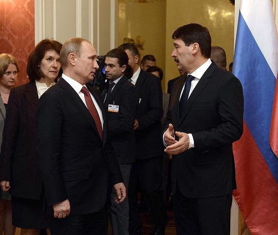 Президент России Владимир Путин и президент Венгрии Янош Адер