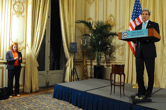 Пресс-конференция госсекретаря США Джона Керри по итогам встречи с главой МИД РФ Сергеем Лавровым в Париже, 2014 год