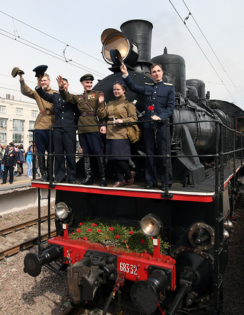 """Парад паровозов"" на Финляндском вокзале Санкт-Петербурга"