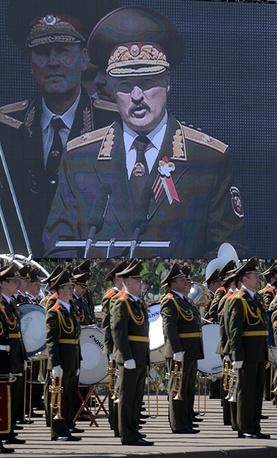 Александр Лукашенко выступает во время военного парада в честь 70-летия Победы в Минске