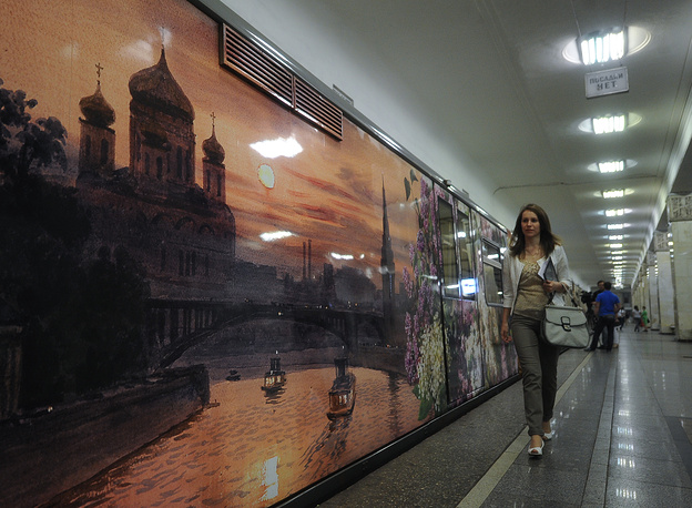 """Поезд """"Акварель"""" с репродукциями картин из Рязанского музея им.И.Пожалостина"""