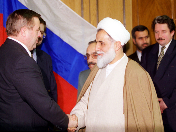 Селезнев и председатель меджлиса (парламента) Ирана Али Акбара Натег-Нури. Москва,1997 год