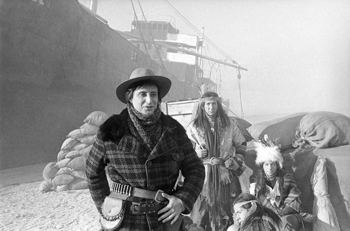 """Съемки художественного фильма """"Смок и Малыш"""", 1975 год.  Вениамин Смехов в роли Смока Белью"""