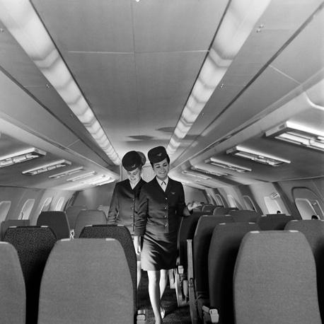 В салоне сверхзвукового пассажирского самолета Ту-144, 1969 год