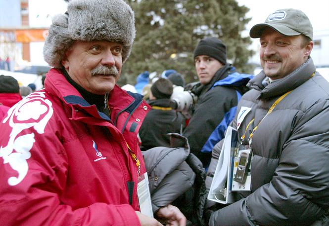 Гусев и режиссер Никита Михалков перед началом церемонии открытия Олимпийских игр 2002 года в Солт-Лейк-Сити