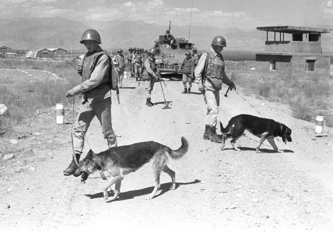 Саперы инженерно-саперной части ограниченного контингента советских войск проверяют дорогу на наличие взрывоопасных предметов. Афганистан, 1988 год