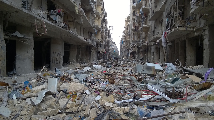 Разминированная улица в районе Аль Миасар