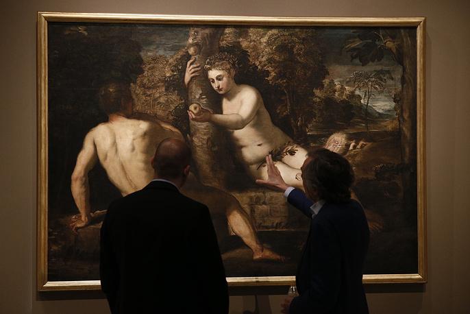 "Картина Тинторетто ""Грехопадение Адама и Евы"""