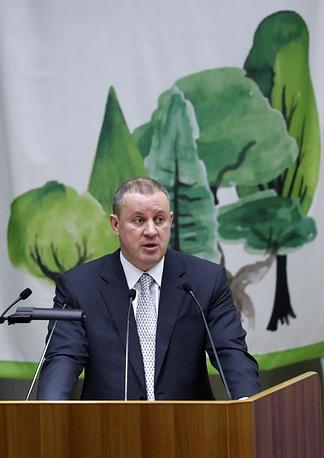 Руководитель Федерального агентства лесного хозяйства Иван Валентик во время выступления на панельной дискуссии в День работников леса