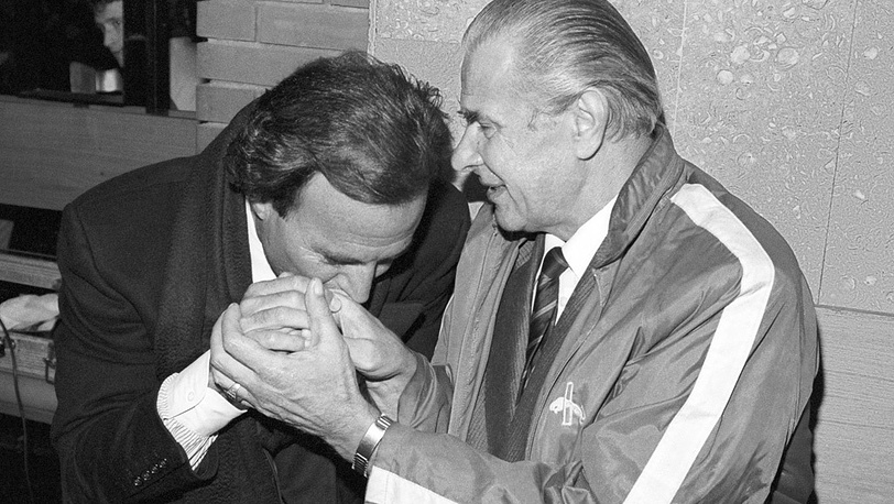Лев Яшин и испанский певец Хулио Иглесиас, 1989 год