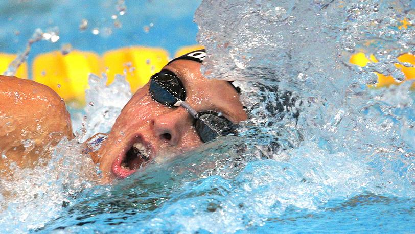 Россиянка Вероника Попова в полуфинальных соревнованиях по плаванию на дистанции 100 м вольным стилем