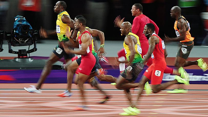 Финальный забег на 100 м у мужчин