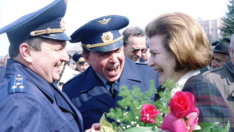 Космонавты Валентина Терешкова, Александр Волков и Виктор Афанасьев, 1996 год