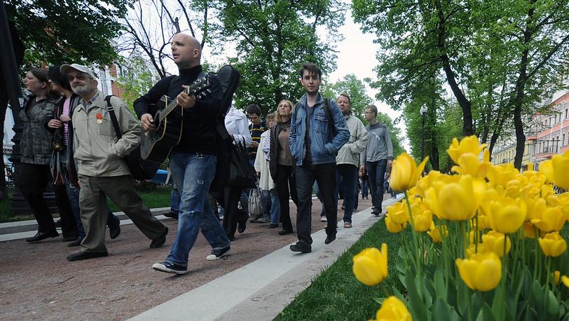 Участники акции на Чистопрудном бульваре