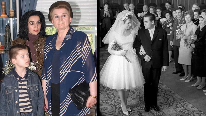 Валентина Терешкова с дочерью Еленой и внуком Алексеем (2003 год); бракосочетание В.Терешковой и А.Николаева (1963 год)