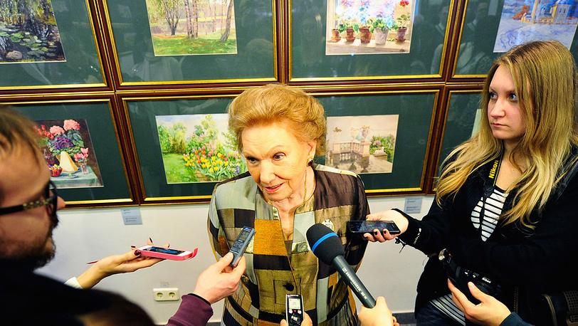 Княгиня Ольга Куликовская-Романова на открытии выставки