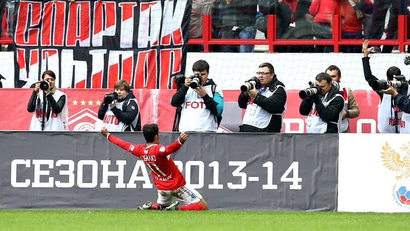 Спартаковец Араз Озбилиз после забитого мяча