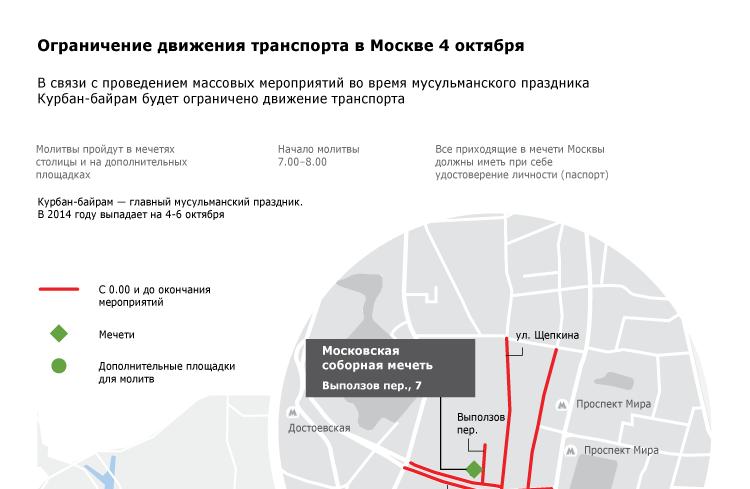Ограничение движения транспорта в Москве 4 октября