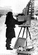 Художник В.В.Пакулин на Невском проспекте. 1942 г.
