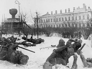 Разрушенный памятник Тысячелетия России после освобождения Новгорода, 1944 год