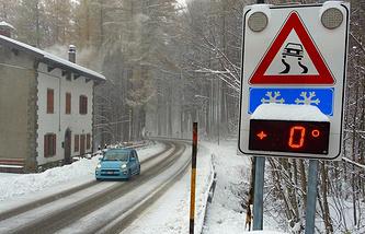 Первый снег в итальянском регионе Тоскана