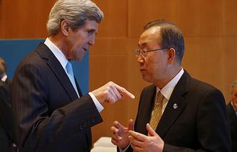 Госсекретарь США Джон Керри и генсек ООН Пан Ги Мун