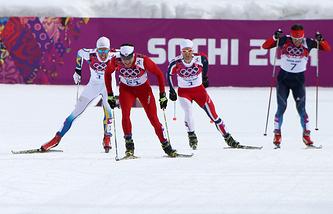 Финиш скиатлона на Олимпиаде в Сочи