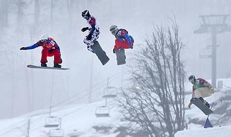 Французский спортсмен Пьер Вольтье, россиянин Николай Олюнин, французский спортсмен Поль-Анри де Ле Рю и американский спортсмен Алекс Диболд (слева направо)
