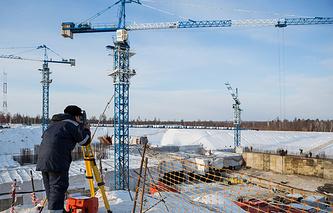 """На строительной площадке космодрома """"Восточный"""" вблизи поселка Углегорск"""