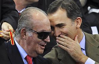 Король Испании Хуан Карлос I и принц Фелипе