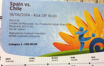 Билет на матч ЧМ-2014 между сборными Испании и Чили