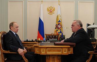 Президент РФ Владимир Путин и глава Республики Алтай Александр Бердников