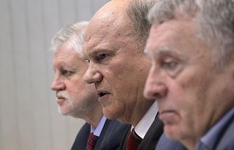 Сергей Миронов, Геннадий Зюганов и Владимир Жириновский
