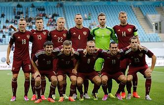 Футболисты сборной России перед матчем с командой Азербайджана