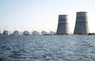 Вид на Запорожскую АЭС