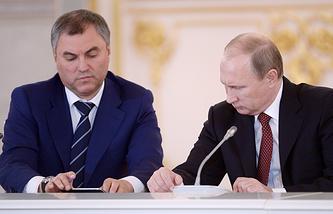 Первый заместитель руководителя администрации президента РФ Вячеслав Володин и президент России Владимир Путин