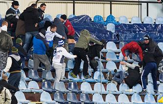 Беспорядки на трибунах стадиона в Братиславе