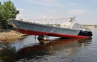 Торжественная церемония спуска десантного катера проекта 21820 заводской № 703