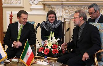 Председатель Госдумы Сергей Нарышкин и спикер меджлиса (парламента) Ирана Али Лариджани (слева направо)