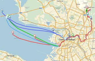"""Карта """"путешествия"""" GPS-трекеров со сточными водами из Нового Девяткино"""