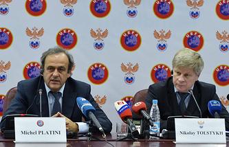Глава УЕФА Мишель Платини и президент РФС Николай Толстых