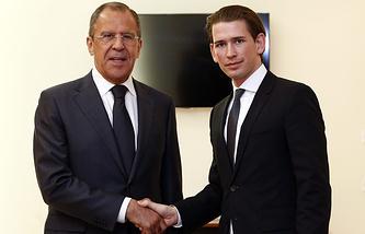 Министры иностранных дел России и Австрии Сергей Лавров и Себастьян Курц 5 мая 2014 год