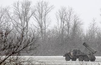 Украинская военная техника в районе Дебальцево