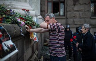 Акция памяти у Дома профсоюзов в Одессе, 3 мая 2014 года