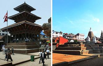 Храм Харишанкар в Патане до и после землетрясения