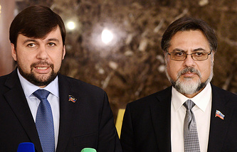 Представители ДНР Денис Пушилин и ЛНР Владислав Дейнего