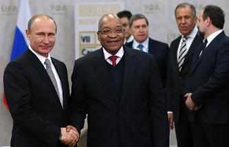 Президент России Владимир Путин и президент ЮАР Джейкоб Зума