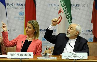 Глава европейской дипломатии Федерика Могерини и министр иностранных дел Ирана Мохаммад Джавад Зариф