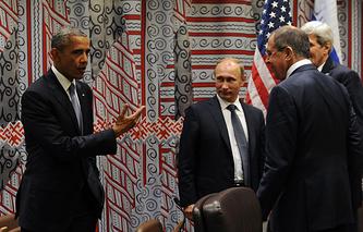 Президент США Барак Обама, президент России Владимир Путин и глава МИД РФ Сергей Лавров